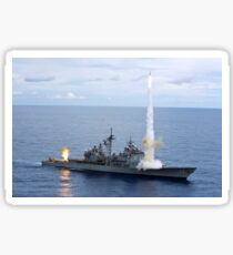 USS Cowpens fires Standard Missiles 2 at an airborne drone. Sticker