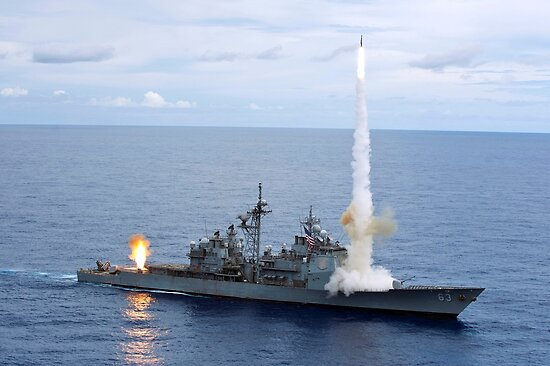 USS Cowpens fires Standard Missiles 2 at an airborne drone. by StocktrekImages