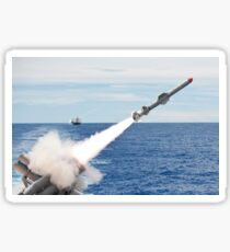 USS Cowpens launches a Harpoon missile from the aft missile deck. Sticker