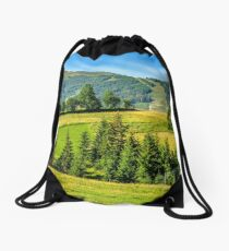 spruce forest near in valley Drawstring Bag