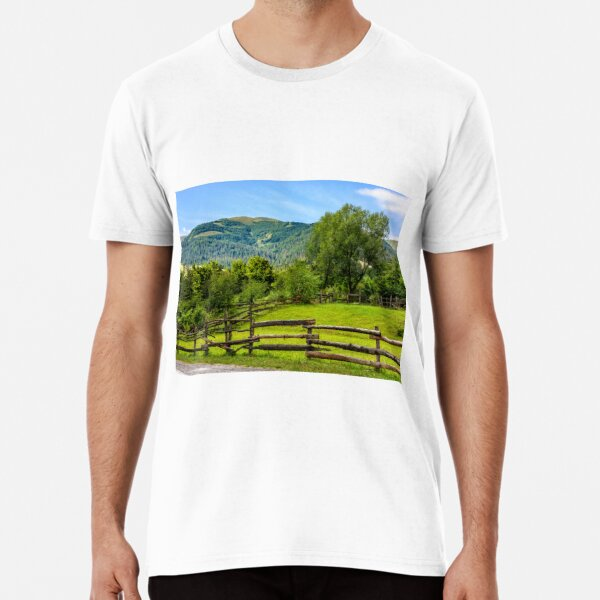 wooden fence on hillside Premium T-Shirt