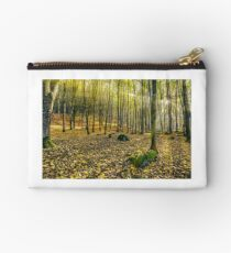 foggy autumn forest in sun rays Studio Pouch