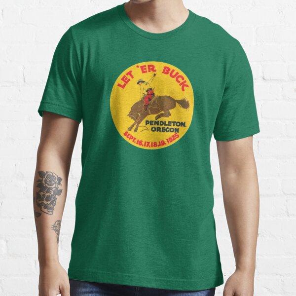 Vintage Rodeo Let 'Er Buck Pendleton Oregon 1925 00463 Essential T-Shirt