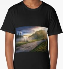 road near foggy forest in mountains Long T-Shirt