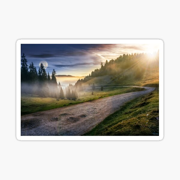 road near foggy forest in mountains Sticker