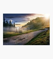 road near foggy forest in mountains Photographic Print