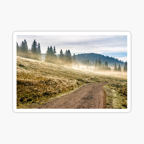 road  near foggy forest in mountains at sunrise Sticker