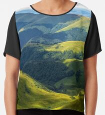 valley between green hills in summer Chiffon Top