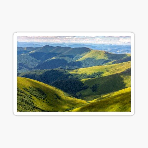 valley between green hills in summer Sticker