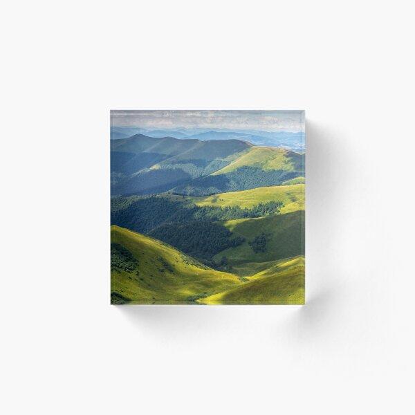 valley between green hills in summer Acrylic Block