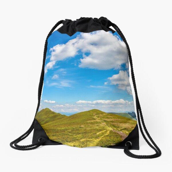 hillside panorama in Carpathian mountains Drawstring Bag