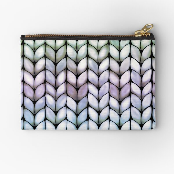 Chunky Lavender Forest Knit Zipper Pouch