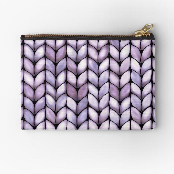Chunky Lilac Knit Zipper Pouch