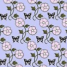 Butterflies and Flowers, Lilac - Art Nouveau by Linda Callaghan