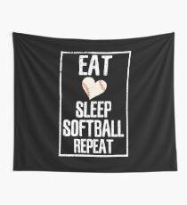 Eat Sleep Softball Repeat Shirt Wall Tapestry