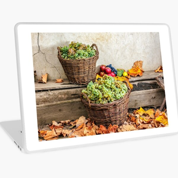 autumnal still life with fruit and leaves on a wooden base Laptop Skin
