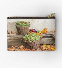 autumnal still life with fruit and leaves on a wooden base Studio Pouch