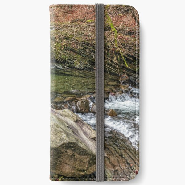 forest river with stones and moss iPhone Wallet