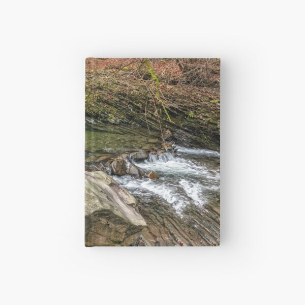 forest river with stones and moss Hardcover Journal