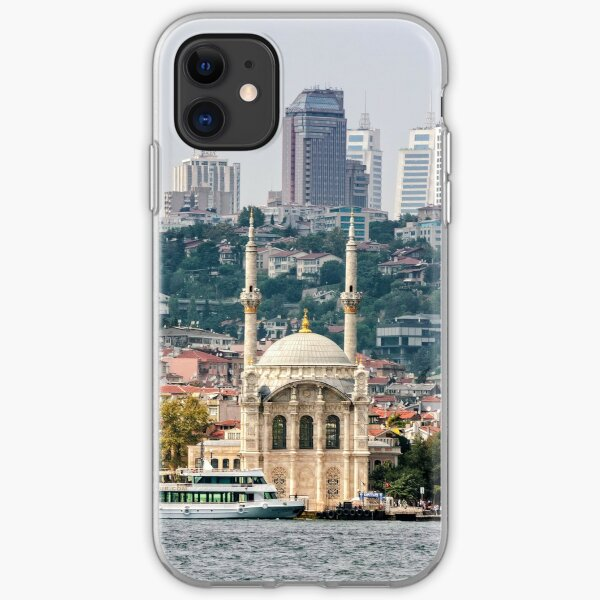 Ortakoy Mosque infront of the Istanbul panorama  iPhone Soft Case