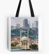 Ortakoy Mosque infront of the Istanbul panorama  Tote Bag