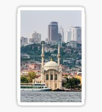 Ortakoy Mosque infront of the Istanbul panorama  Sticker