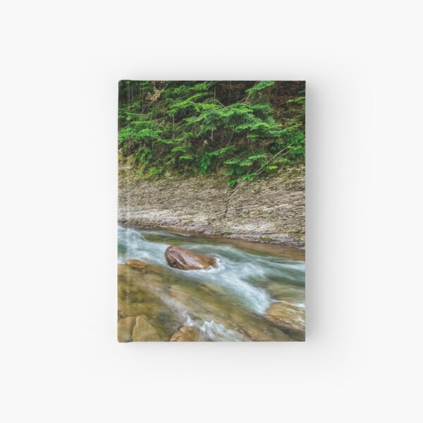 river with stones on shores anmong the forest Hardcover Journal