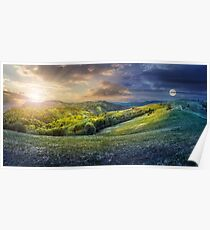 day nad night concept of Rural landscape Poster