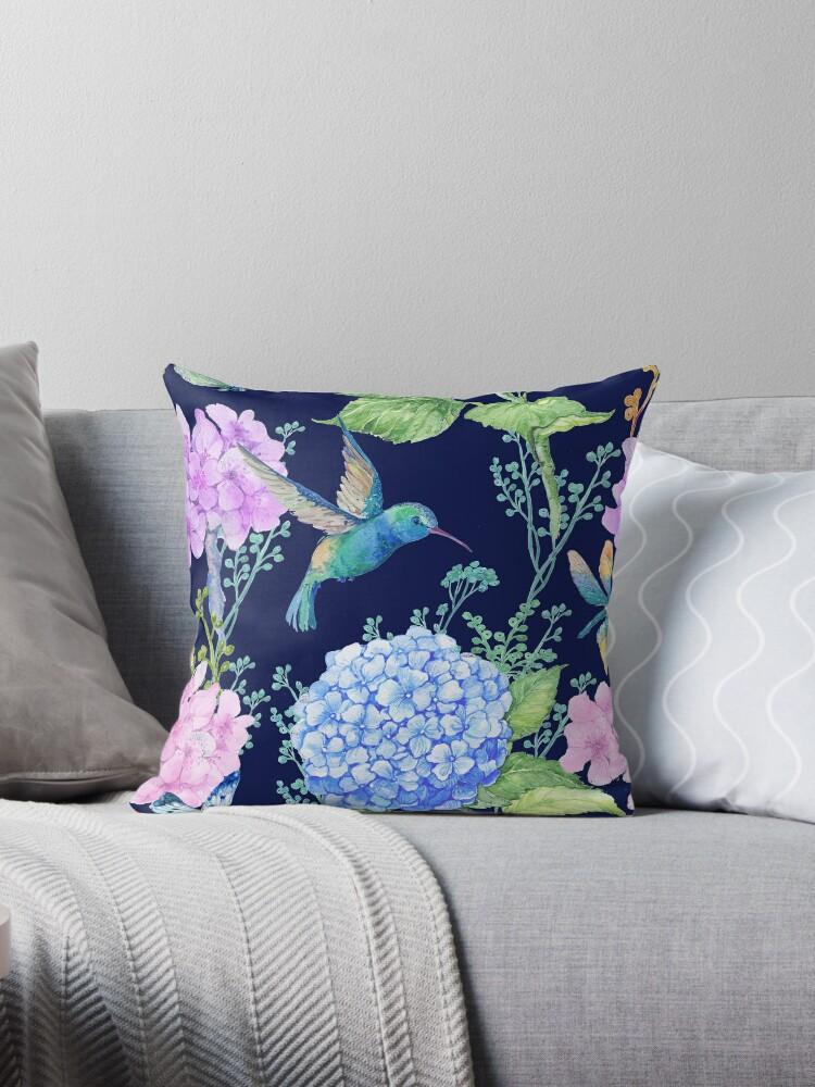 Seamless Patternwatercolor Flowers Butterflies And A Little Bird