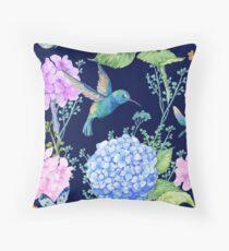 seamless pattern,watercolor flowers, butterflies and a little bird,Hummingbird,pattern for textile design,Wallpaper Throw Pillow