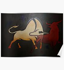 Two Bulls Fighting  Poster