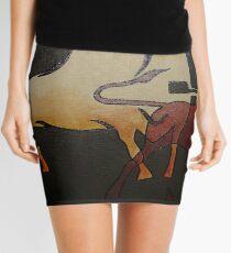 Two Bulls Fighting  Mini Skirt