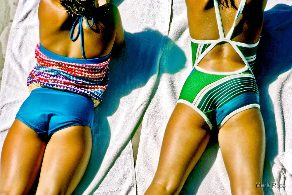 Two Girls Relaxing on Towels by Mark Ross