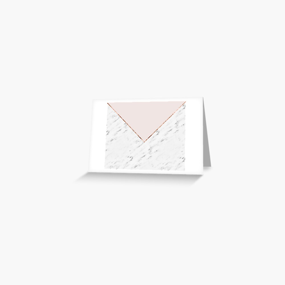 Peony blush geometric marble Greeting Card