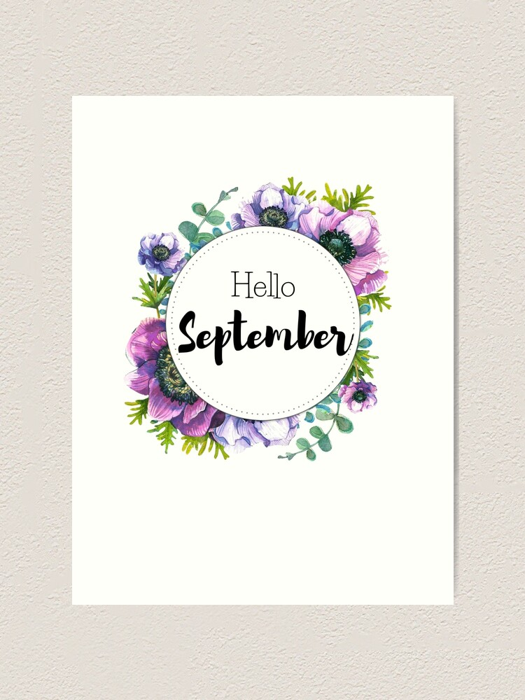 Alternate view of Hello September - monthly cover for planners, bullet journals Art Print
