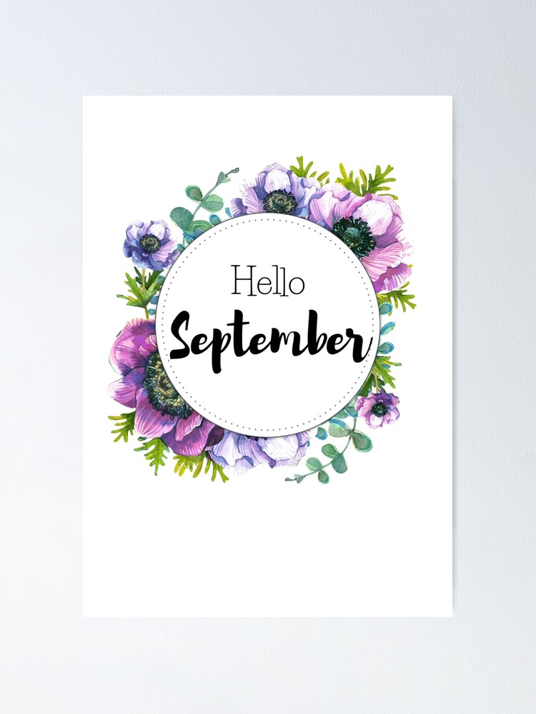 Alternate view of Hello September - monthly cover for planners, bullet journals Poster
