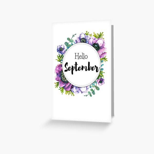 Hello September - monthly cover for planners, bullet journals Greeting Card