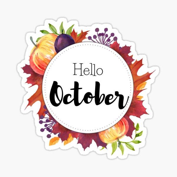 Bonjour Octobre - couverture mensuelle pour les planificateurs, bullet bullets Sticker