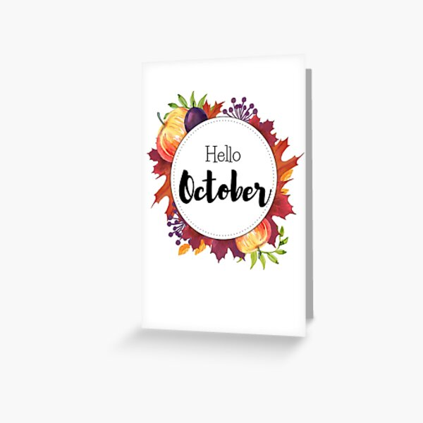 Hello October - monthly cover for planners, bullet journals Greeting Card