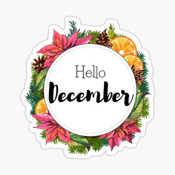 Hello December - monthly cover for planners, bullet journals Sticker