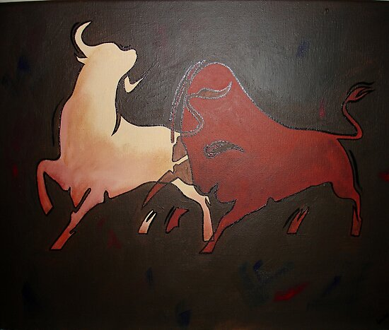 Two Fighting Bulls  by taiche