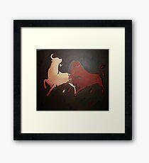 Two Fighting Bulls  Framed Print