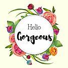 Hello Gorgeous - Spring ranunculus flowers watercolor design by vasylissa