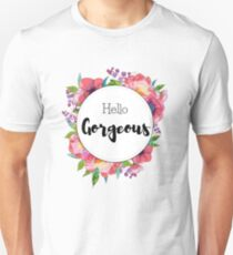 Hello Gorgeous - peonies flowers watercolor design T-Shirt