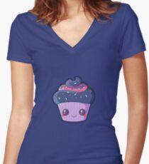 Cartoon Cupcake Women's Fitted V-Neck T-Shirt