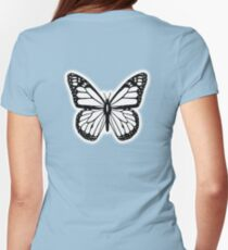 Butterfly, Black and White Butterfly Womens Fitted T-Shirt