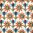 Orange and blue summer flowers by MajaVeselinovic