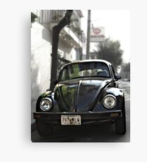 Black VW Bug  - Front View Canvas Print