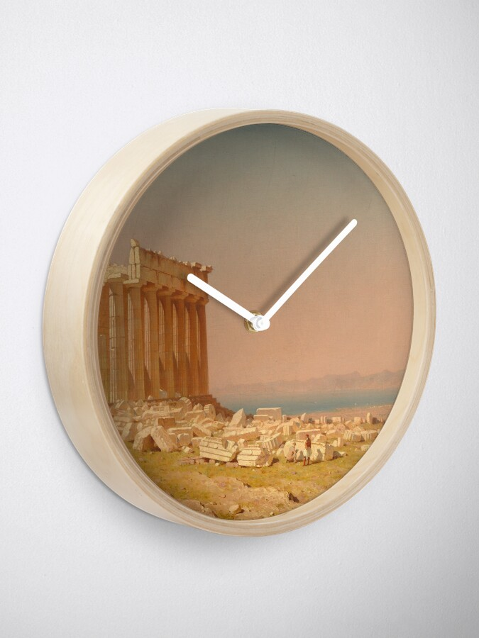 Alternate view of Ruins of the Parthenon Oil Painting by Sanford Robinson Gifford Clock