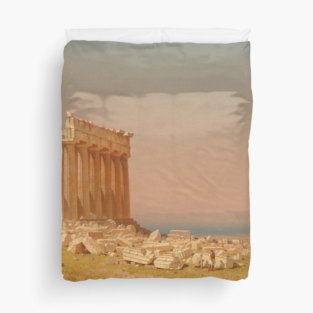 Ruins of the Parthenon Oil Painting by Sanford Robinson Gifford Duvet Cover